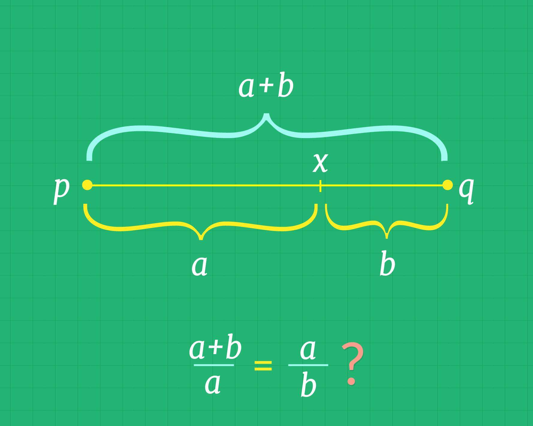 Divisão do segmento de tal forma que as razões são iguais