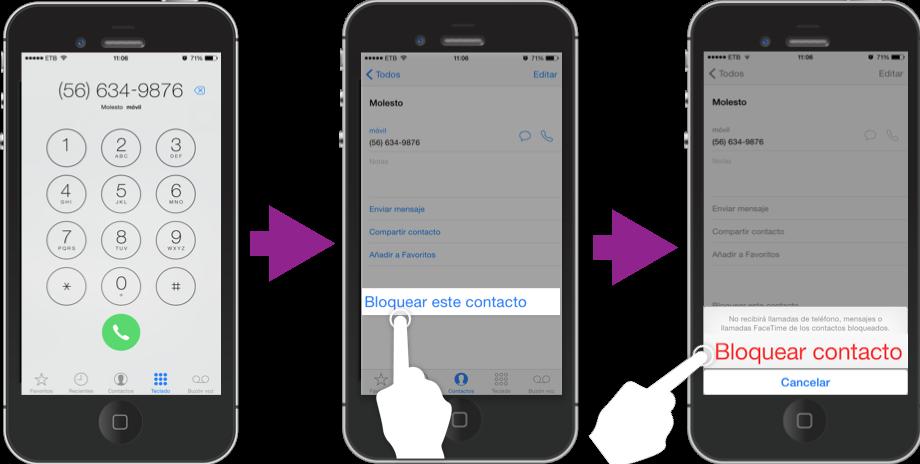 Vista de los pasos para bloquear una número en un iPhone.