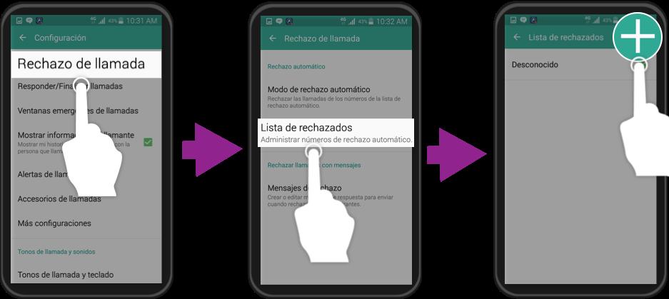 Vista de los pasos 4, 5 y 6 para bloquear un contacto en un dispositivo Samsung Galaxy.