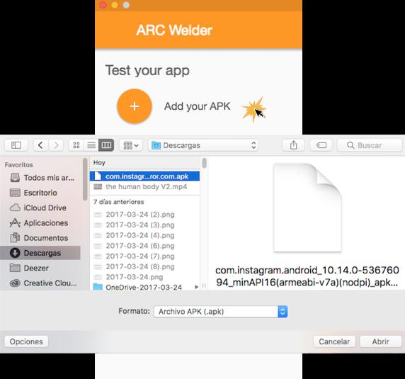 Imagen ejemplo de cómo agregar el ejecutable de Instagram a ARC Welder.