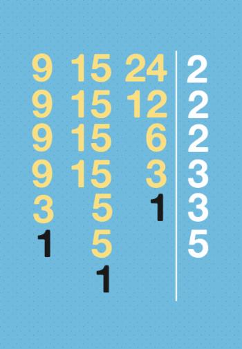 Decomposição com números primos.