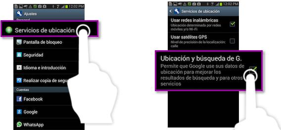 Vista de procesos de desactivación de los servicios de ubicación en Samsung Galaxy 3.