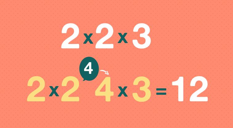 dos por dos por tres es igual a doce.
