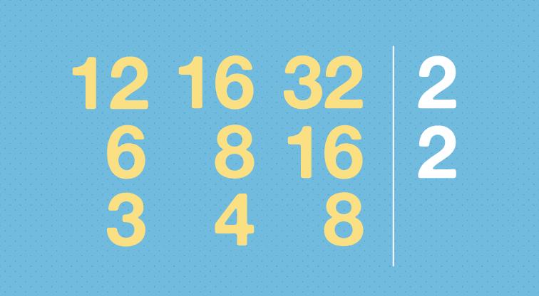 Divide cada número usando en orden cada uno de los números primos.