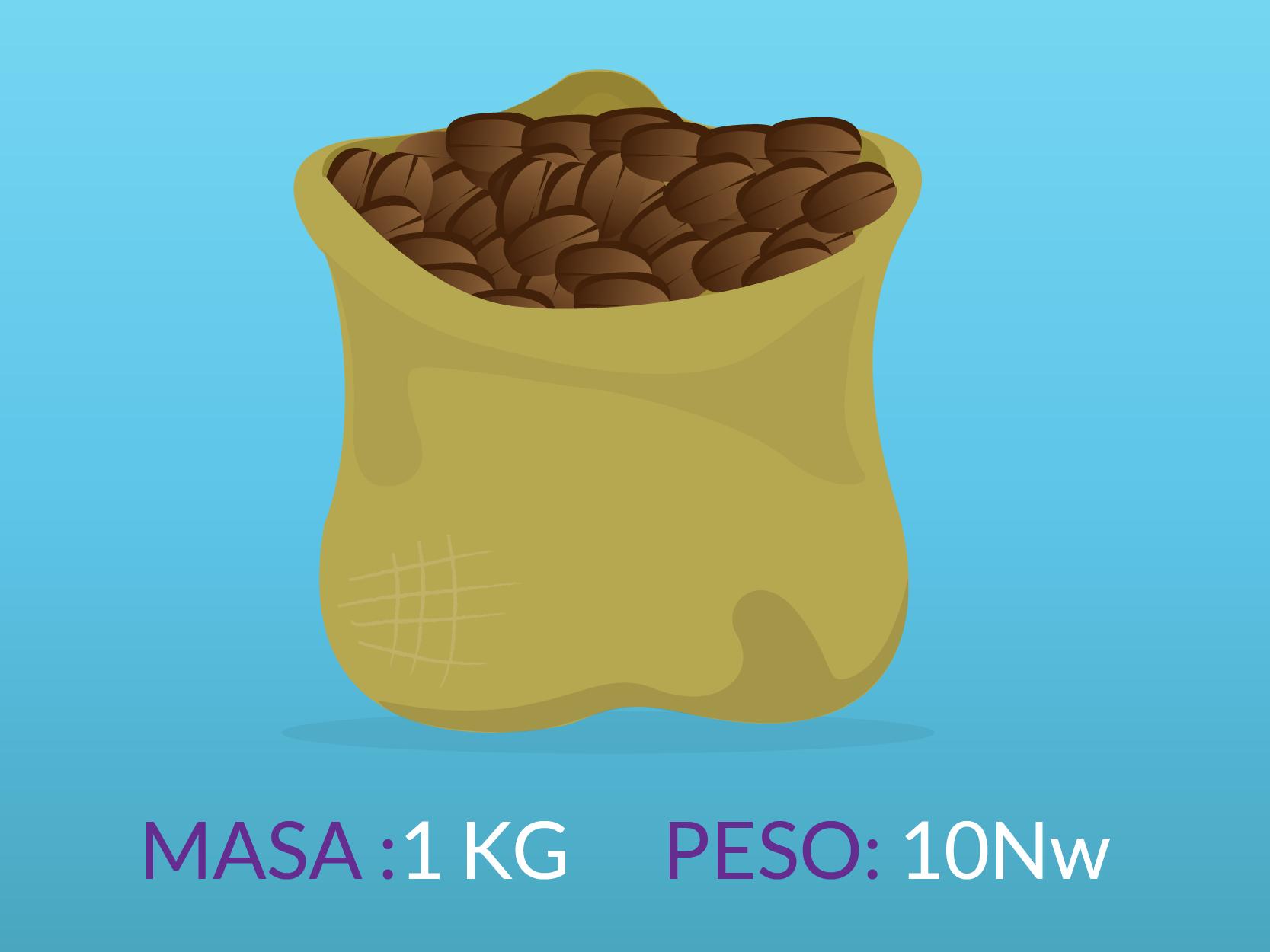 Un saco con una masa de 1 kilo tiene un peso de 10 Newtons.