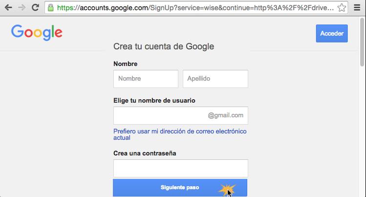 Imagen ejemplo del formulario para crear una cuenta Google.