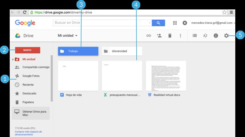 Imagen ejemplo de la interfaz de Google Drive.