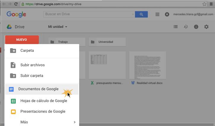 Imagen ejemplo del botón Nuevo y la opción Documento de Google.