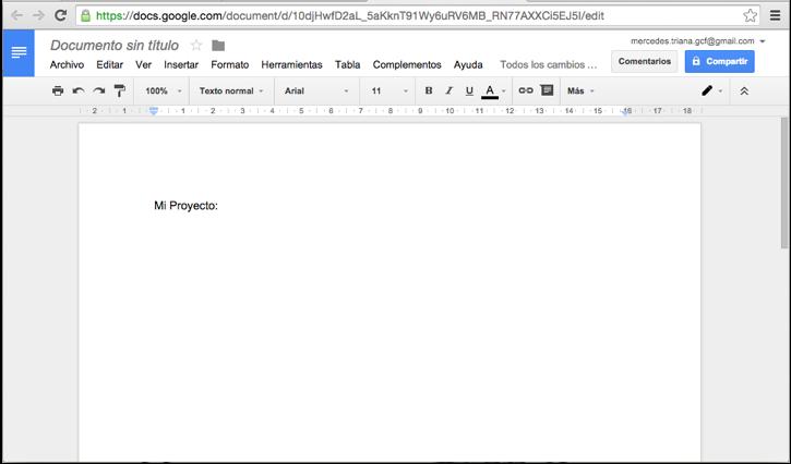 Imagen ejemplo de un documento de texto en Google.