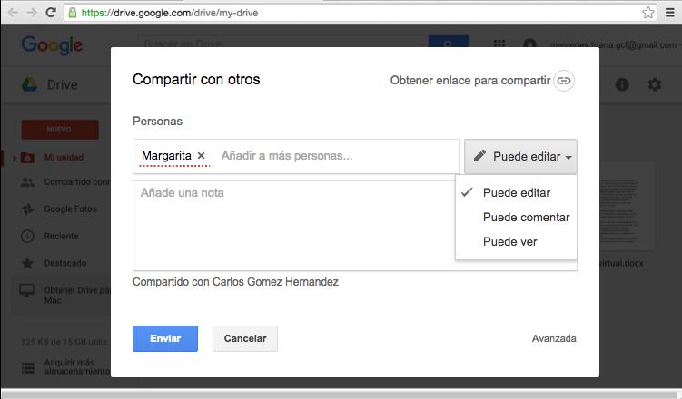 Vista del cuadro de diálogo para compartir un archivo desde Google Drive y el botón Enviar.