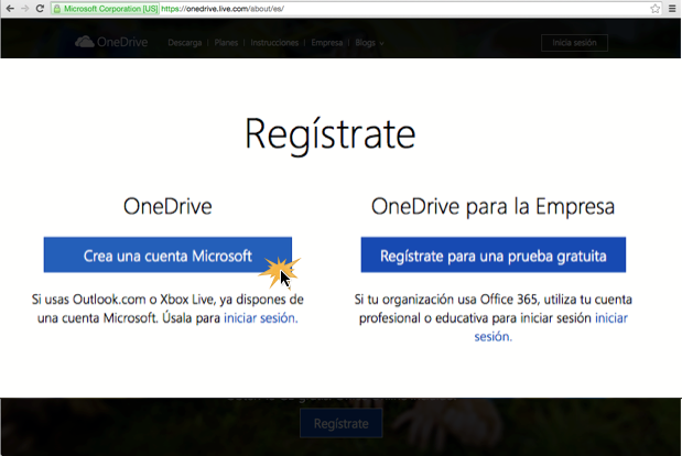 Imagen ejemplo del paso 3 para crear una cuenta en OneDrive.