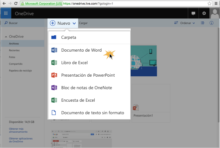 Imagen ejemplo de los primeros tres pasos para crear un nuevo documento en OneDrive.