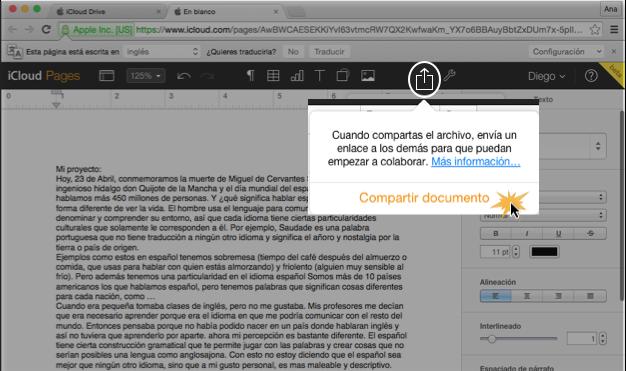Imagen ejemplo del botón Compartir y la opción Compartir documento.