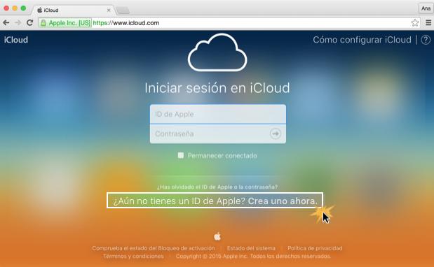 Imagen ejemplo de los dos primeros pasos para crear una cuenta en iCloud.