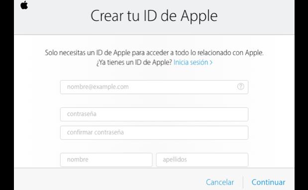Imagen ejemplo del paso 3 de cómo crear una cuenta de iCloud.