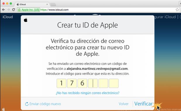 Imagen ejemplo del paso 4 de cómo crear una cuenta en iCloud.