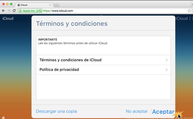 Imagen ejemplo del paso 5 de cómo crear una cuenta en iCloud.
