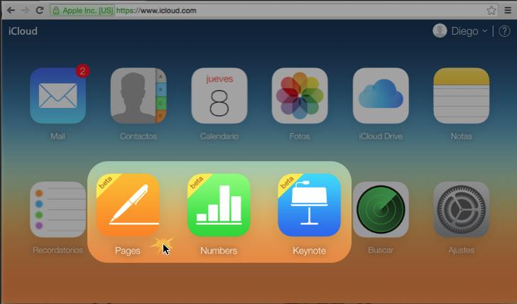 Imagen de los programas para crear archivos en iCloud.