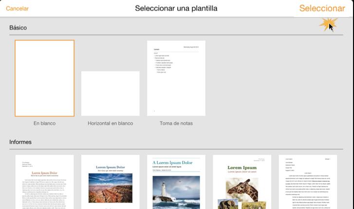 Imagen de la ventana para seleccionar el tipo de documento o plantilla que quieres usar.
