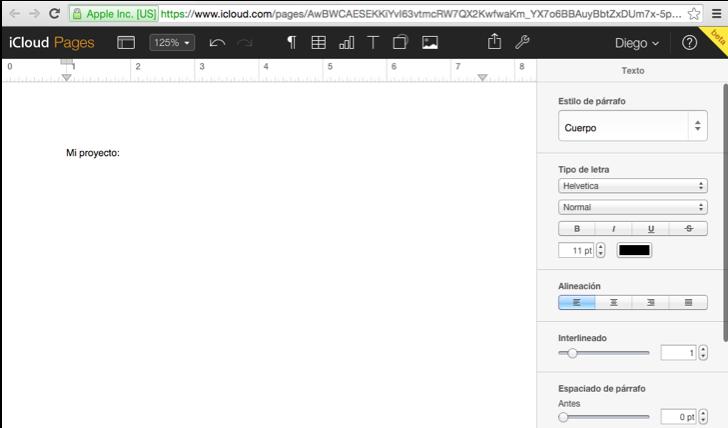 Imagen ejemplo de un documento en Pages.