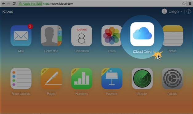 Imagen ejemplo de iCloud Drive en el menú de iCloud.