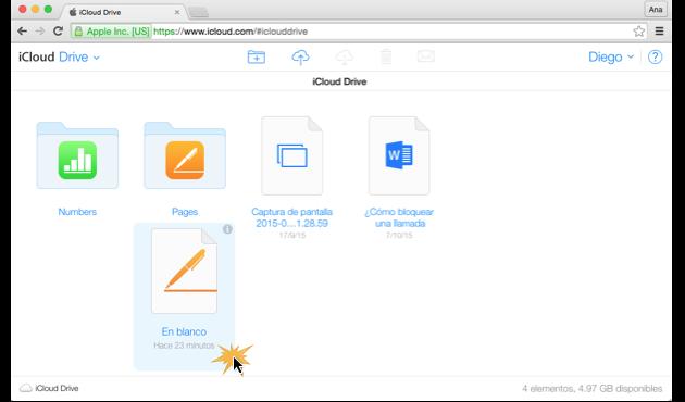 Imagen ejemplo de iCloud Drive.