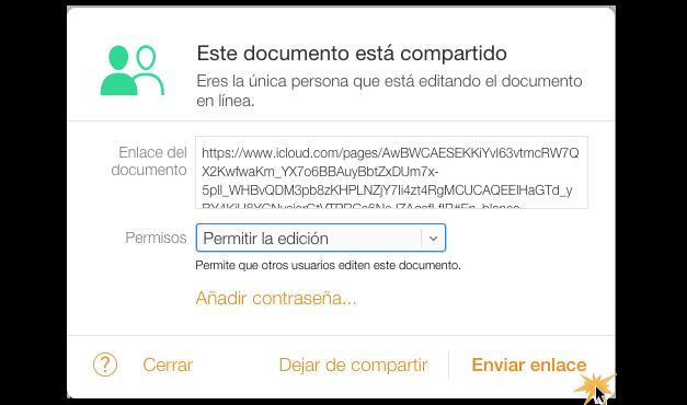 Imagen ejemplo de la ventana del enlace para compartir el documento.