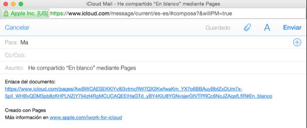 Imagen ejemplo del correo para compartir el enlace a un documento.