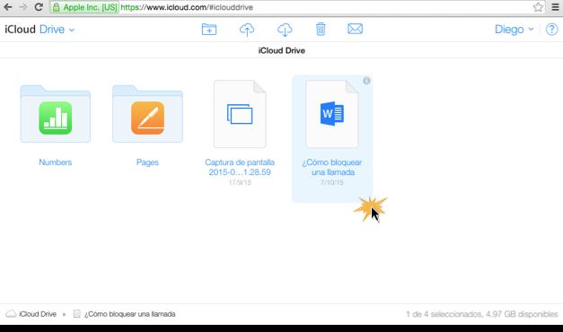 Imagen ejemplo de como compartir un documento no compatible con iCloud.