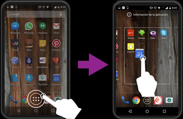 Vista de cómo organizar las aplicaciones en la pantalla de inicio.