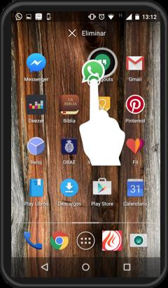 Vista del procedimiento para crear carpetas de aplicaciones en la pantalla inicial.