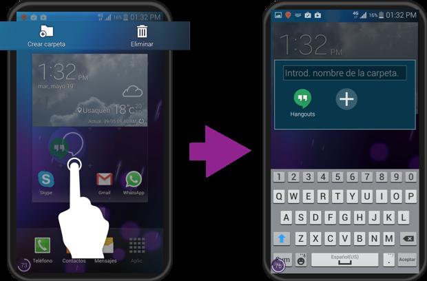 Vista de como crear carpetas de aplicaciones en Samsung.