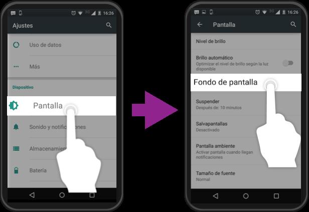 Vista de los pasos 2 y 3 para cambiar el fondo de pantalla de un equipo Android.