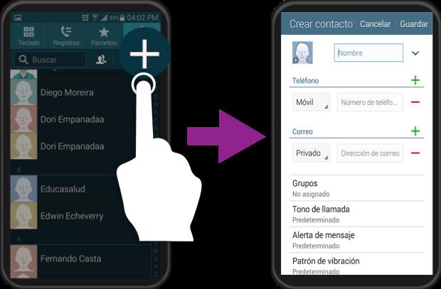 Ejemplo del proceso para agregar un nuevo contacto en Android.