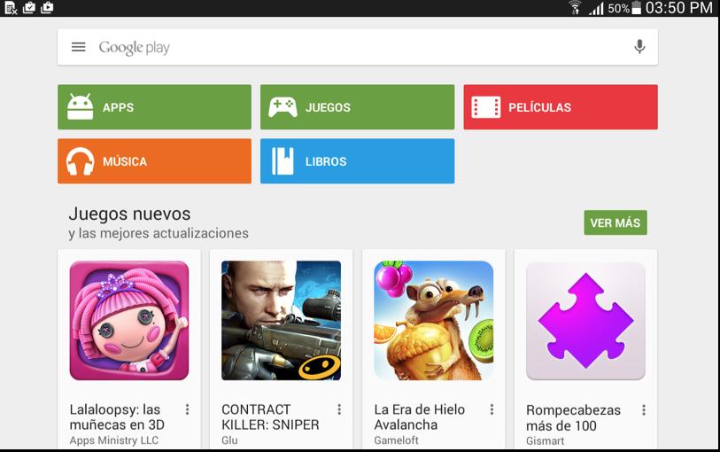 Vista de la interfaz de Google Play Store.