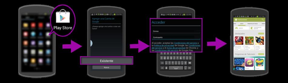 Imagen de los pasos para iniciar sesión en Google Play Store.