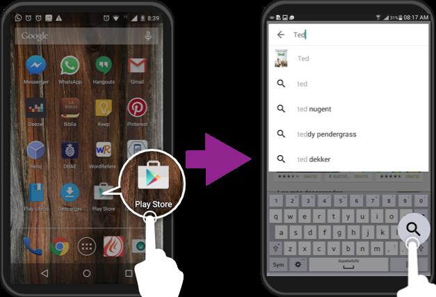 Vista de los pasos 1 y 2 para descargar una aplicación en Android.