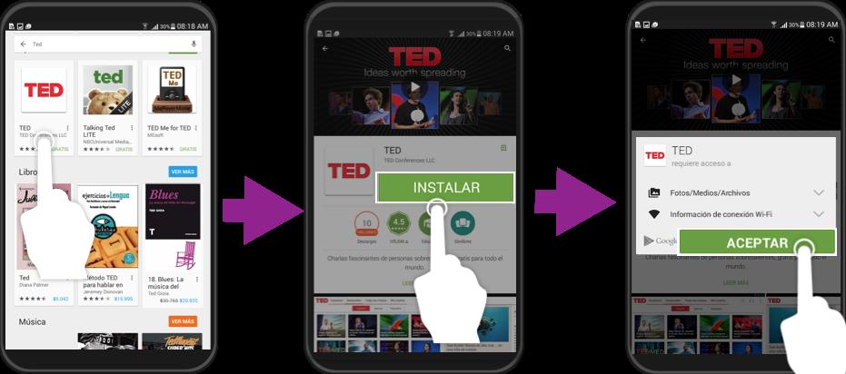 Vista de los pasos 3,4 y 5 de cómo descargar aplicaciones.