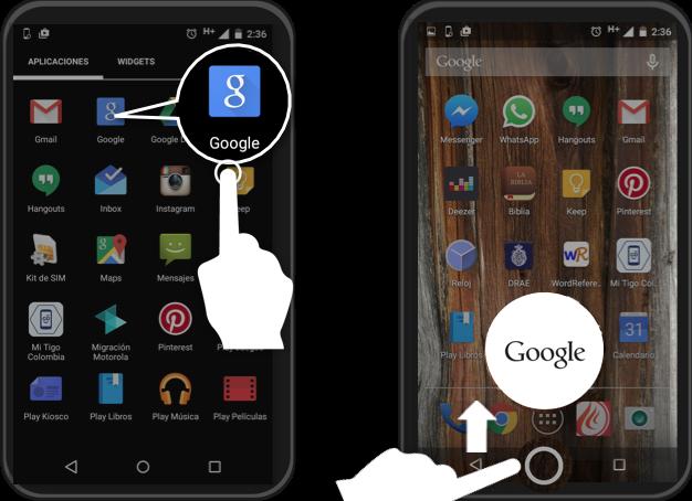 Imagen de cómo puedes acceder a Google Now.