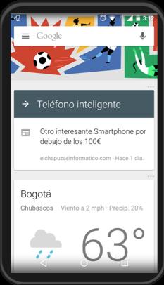 Vista de la interfaz de Google Now.