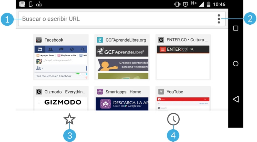 Vista horizontal del navegador Chrome para Android.