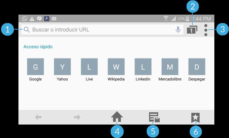 Vista de la interfaz del navegador Internet.
