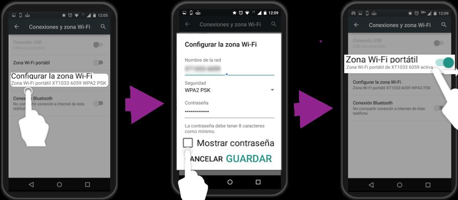 Imagen ejemplo de los pasos 4,5 y 6 para crear una zona Wi-Fi con Android.