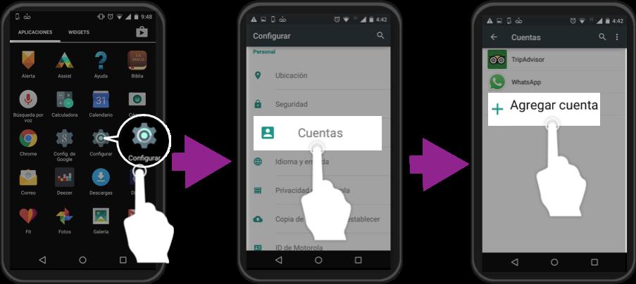 Imagen ejemplo de los primeros tres pasos para iniciar sesión con una cuenta Google en Android.