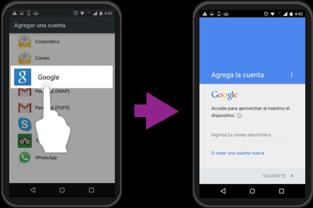 Imagen ejemplo de los pasos 4 y 5 para iniciar sesión con una cuenta Google en Android.