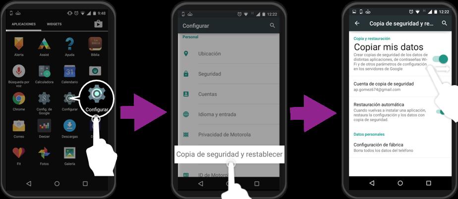 Imagen ejemplo de cómo crear una copia de seguridad en Android.