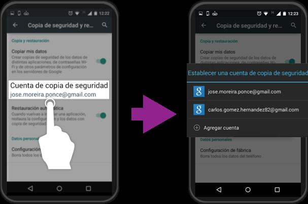 Imagen ejemplo de cómo cambiar la cuenta Google con que haces una copia de seguridad.