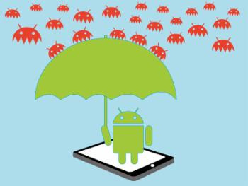 Ilustración de un equipo con SO Android y virus informáticos.