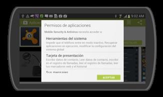 Imagen ejemplo de permisos de aplicaciones.