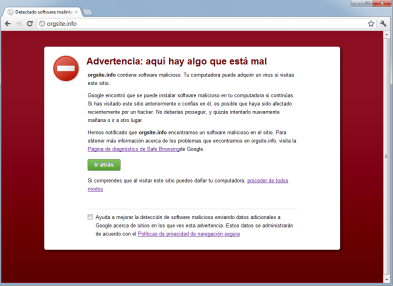 Vista de la advertencia de peligro de Google Chrome